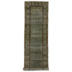 Distressed Antique Persian Malayer Runner with Modern Gustavian Style