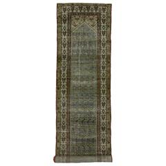 Distressed Antique Persian Malayer Carpet Runner with Modern Industrial Style