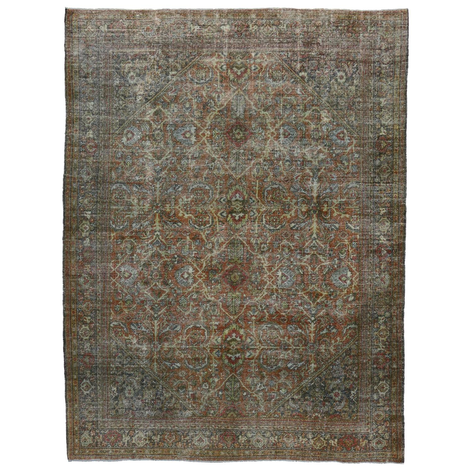Distressed vintage persian mahal area rug with modern for Vintage style area rugs