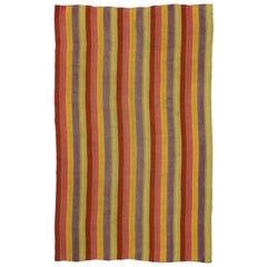 Vintage Turkish Kilim Rug with Stripes in Modern Style, Striped Kilim Rug