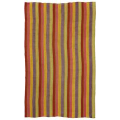Vintage Turkish Kilim Rug with Stripes in Modern Style, Striped Area Rug