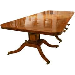 19th Century English Regency Mahogany Pedestal Base Dining Table