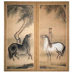 Japanese Screen Painting of Stallions