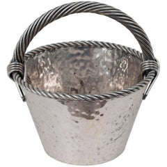 Silver Plate Basket with a Rope Handle
