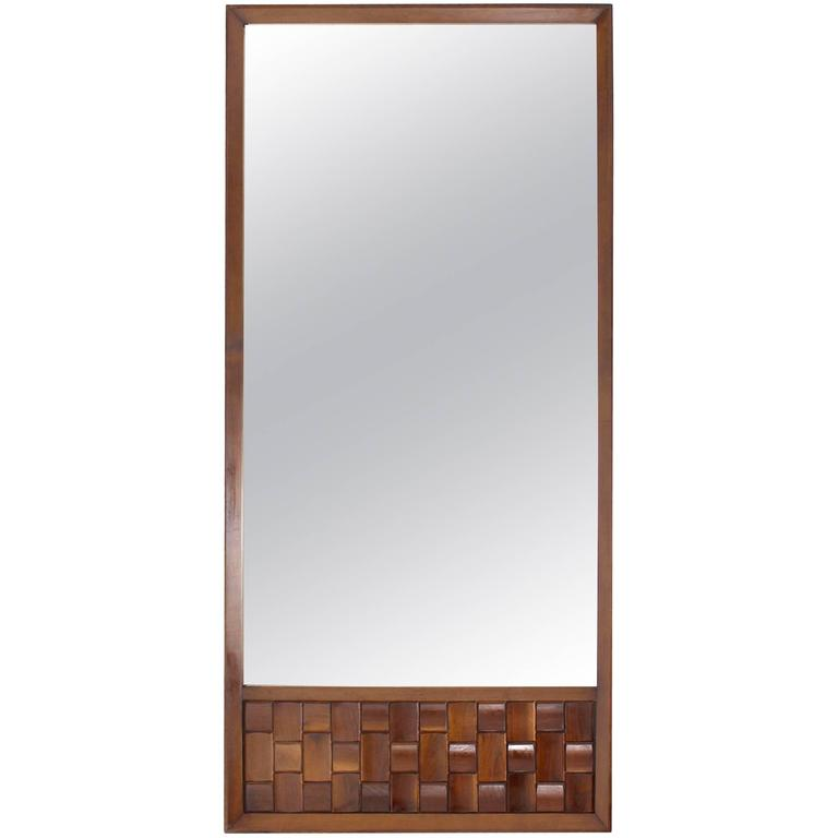 Large Walnut Frame Mirror with Solid Walnut Carved Panel For Sale