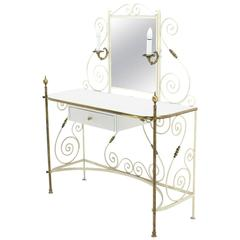 Decorative Vanity Dressing Table Milk Glass Top Metal Scrolls Brass Hardware