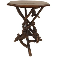 1920s American Rustic Adirondack Oak End Table with Twig and Root Base