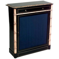 Turn of the Century English Regency Style Gilt Faux Bamboo and Lacquer Cabinet