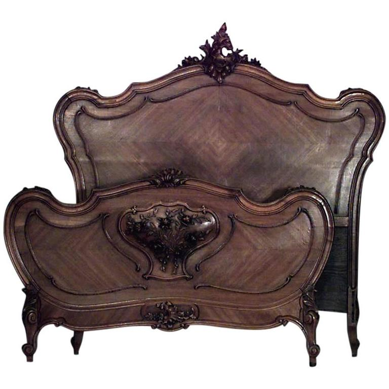 Turn of the Century French Louis XV Style Carved Walnut Bed