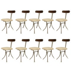 Set of Eight French Mid-Century Modern Side Chairs