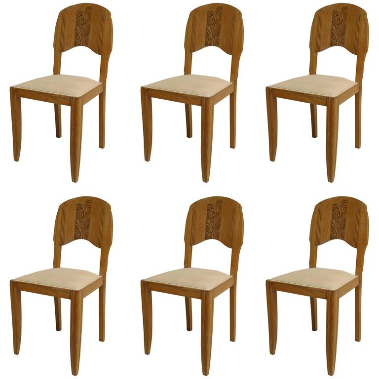 Set of Six French Art Deco Bleached Oak Side Chairs