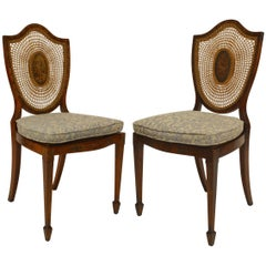 Pair of 19th Century English Sheraton Style Satinwood Shield Back Side Chairs
