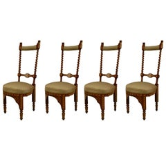 Set of Four 19th Century Italian Middle Eastern Style Inlaid Side Chairs