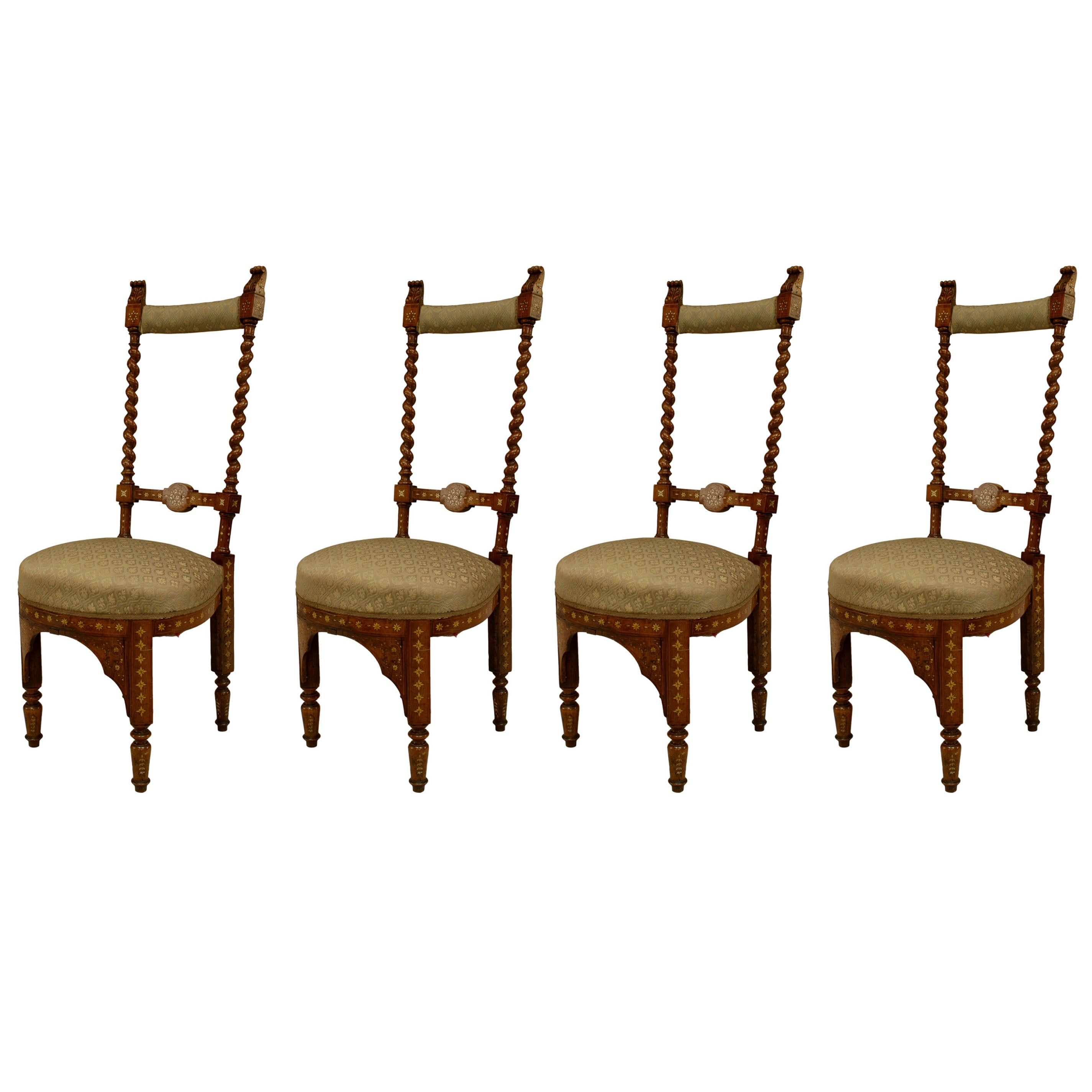 Set Of Four 19th Century Italian Middle Eastern Style Inlaid Side Chairs For At 1stdibs