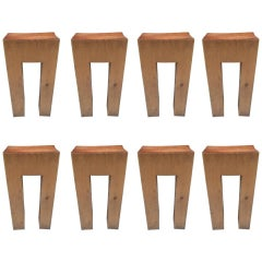 Eight Rare Solid Bar Stools with Leather Seats