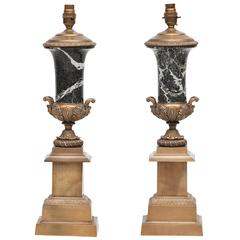 19th Century Pair of Brass and Marble Table Lamps