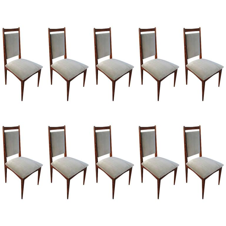 Set of Ten 1960s Brazilian Jacaranda Dining Chairs in Grey Velvet
