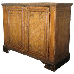 Italian 18th Century Baroque Painted and faux marbleized Credenza