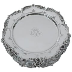 Set of 12 Gorham Sterling Silver Bread and Butter Plates with Fancy Scrolls