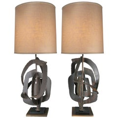 Pair of 1960s Sculptural Iron Lamps by Harry Balmer