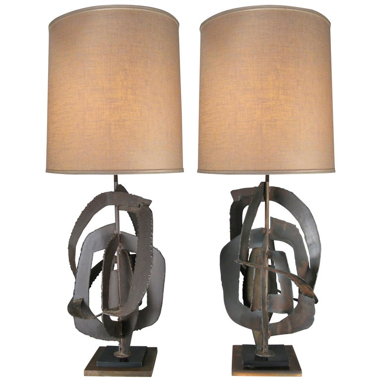 Pair of 1960s Sculptural Iron Lamps by Harry Balmer For Sale