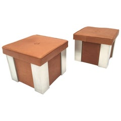 Elegant Pair of Leather and Stainless Steel Stools Attributed to Romeo Rega