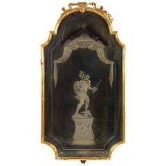 Late 18th Century Italian Mirror with Reverse Etching, Lovely Old Patina