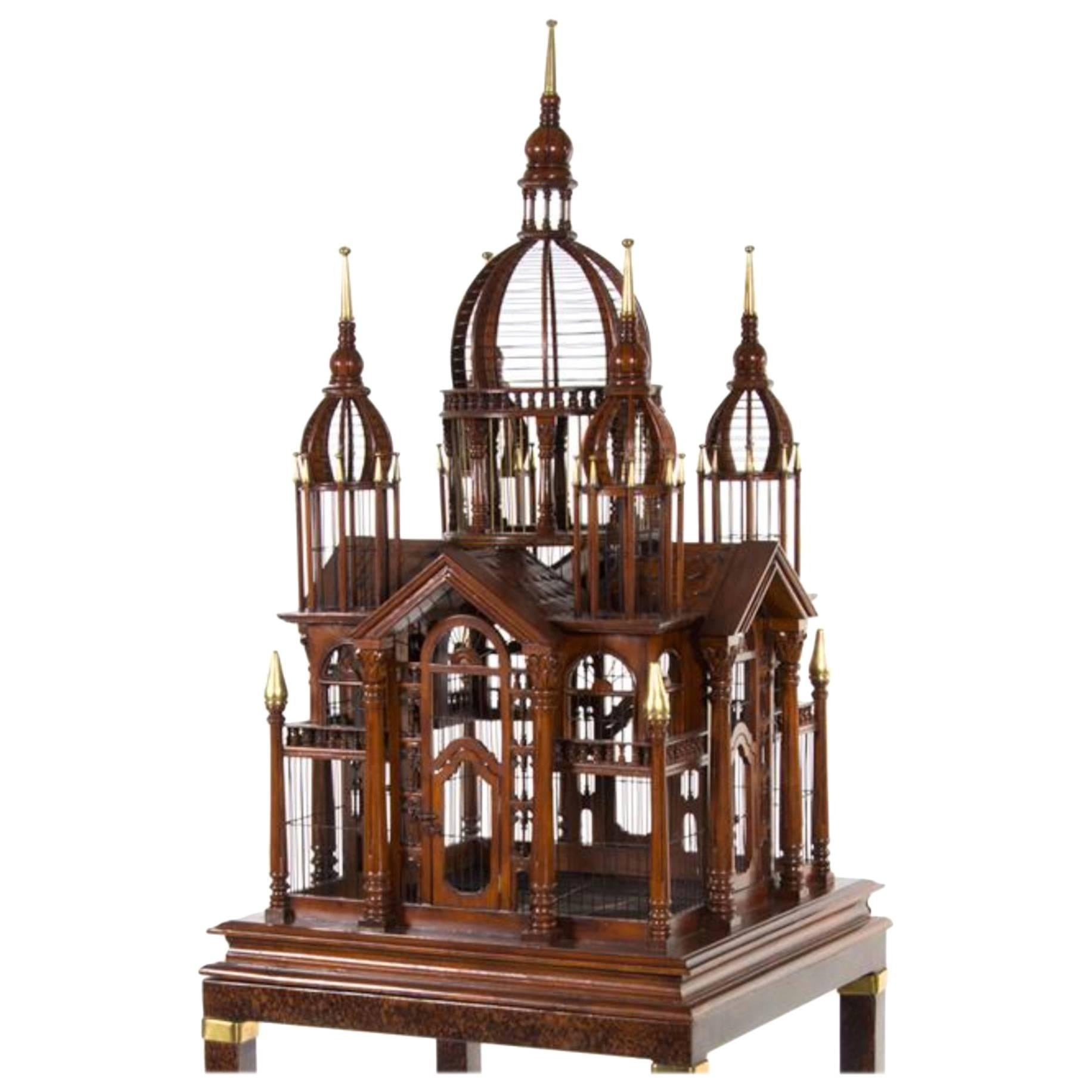 Monumental English Mahogany Bird Cage on Stand, Brass Banding And Finials.
