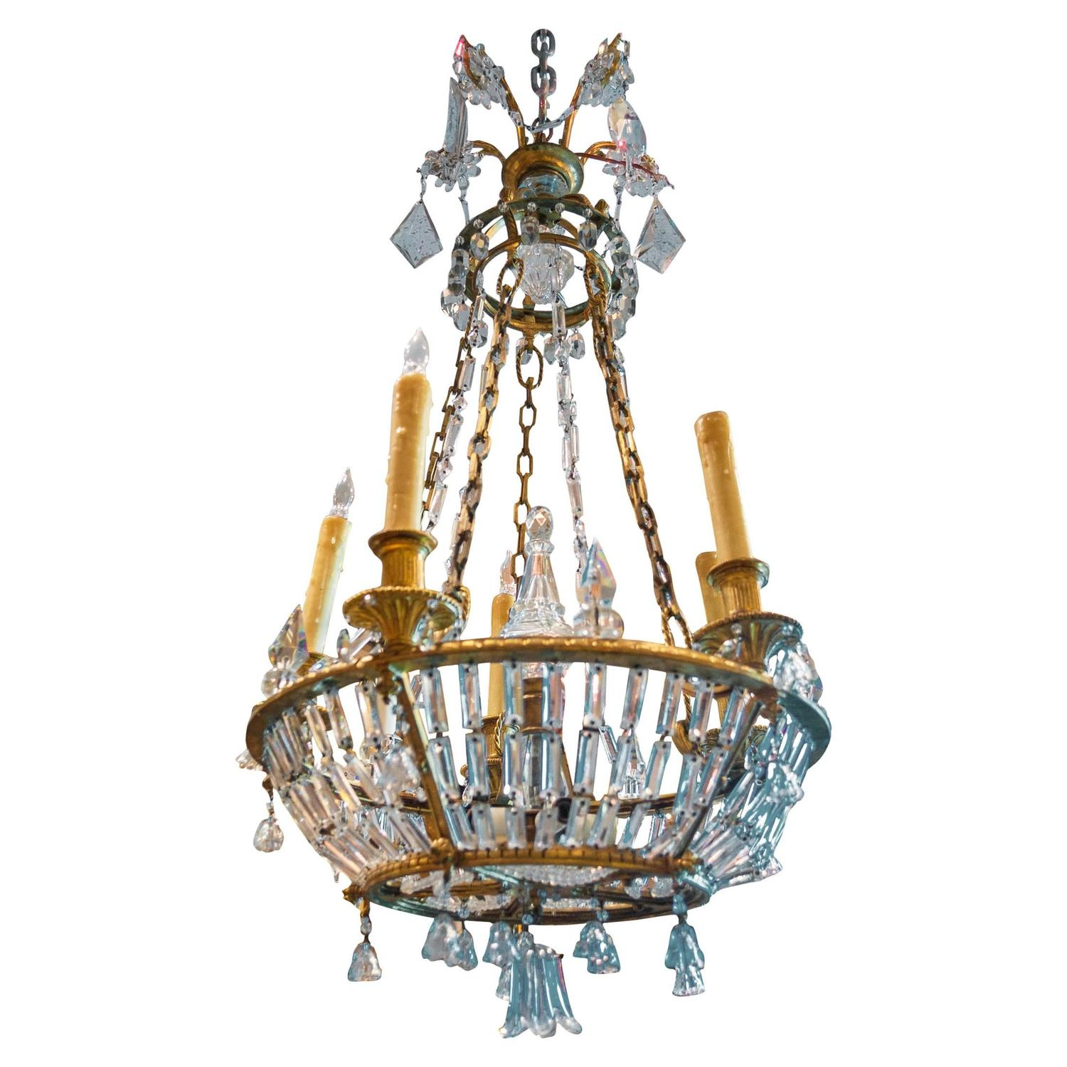 Fantastic Baltic Or Russian Crystal And Bronze Ten Light Chandelier For Sale