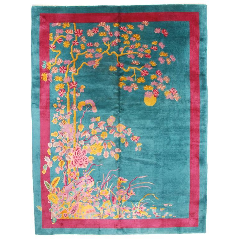 Vintage Art Deco Chinese Antique Oriental Rug At 1stdibs