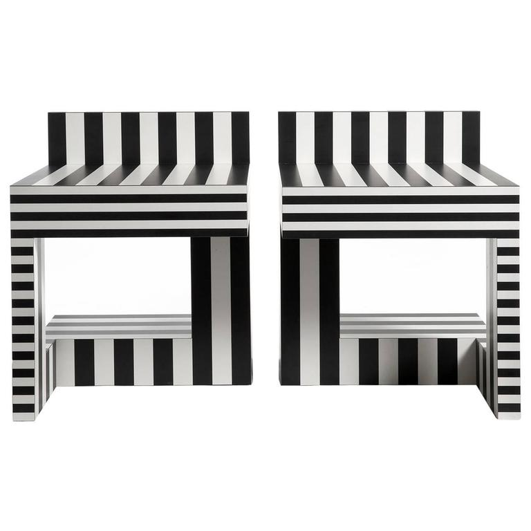 Memphis Inspired Side Table/Stool Neo Laminati Collection