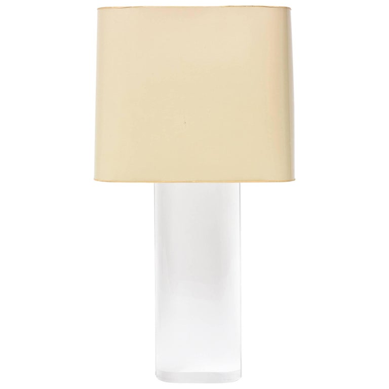Karl Springer Oval Lucite Table Lamp For Sale