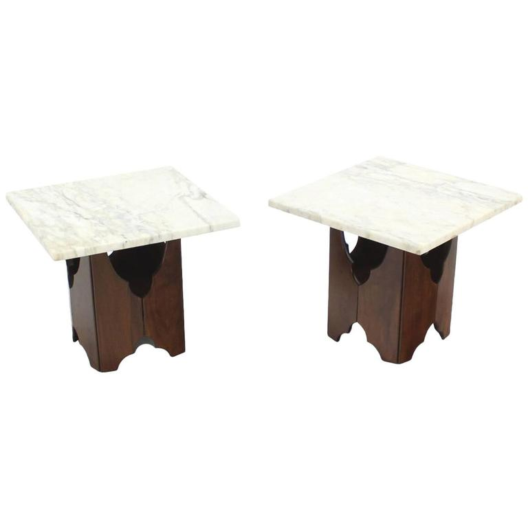 Pair of Mid-Century Modern Walnut Base Square Marble Top End Side Tables