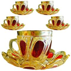 Set of Five Exceptional Moser Glass Cups and Saucers, circa 1900