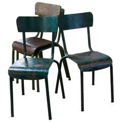 Set of Four Painted Green Metal Industrial Side Chairs from France, circa 1940