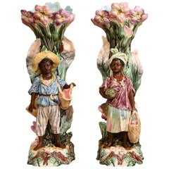 Pair of 19th Century French Hand Painted Ceramic Barbotine Blackamoor Vases