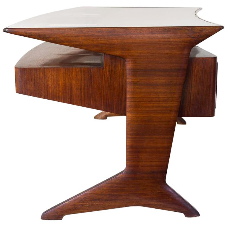 Important Rosewood Curved Writing Desk Attributed Guglielmo Ulrich, circa 1945