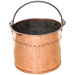 English Copper Bucket with Riveted Seams