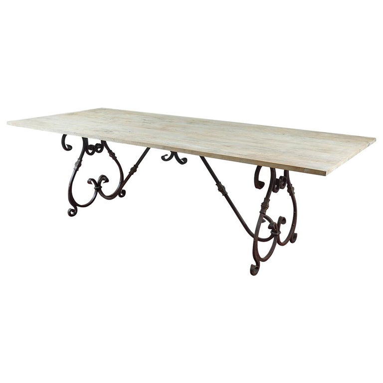 Large Wrought Iron Base and Teak Wood Top Dining Table, Seats 8 to 10 For Sale