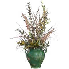 Exquisite Rustic Green Glazed Terracotta Jardinièr with Faux Floral Display