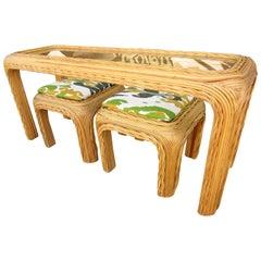 Vintage Bambus Rattan Konsolentisch und Stühle