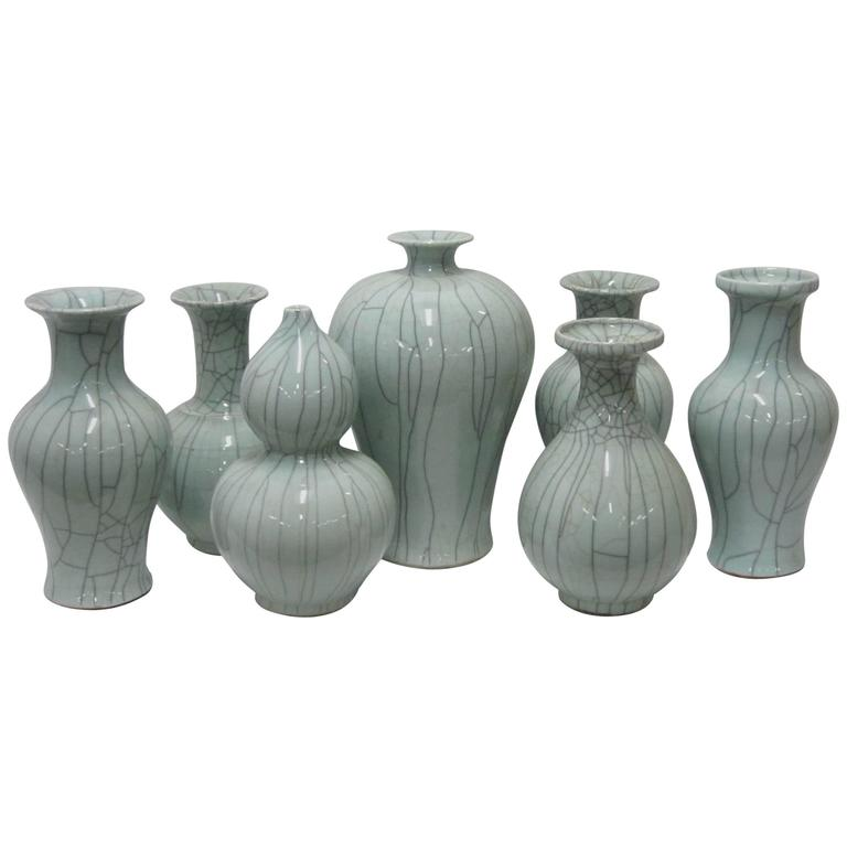 Collection of Pale Blue Crackle Vases, China, Contemporary