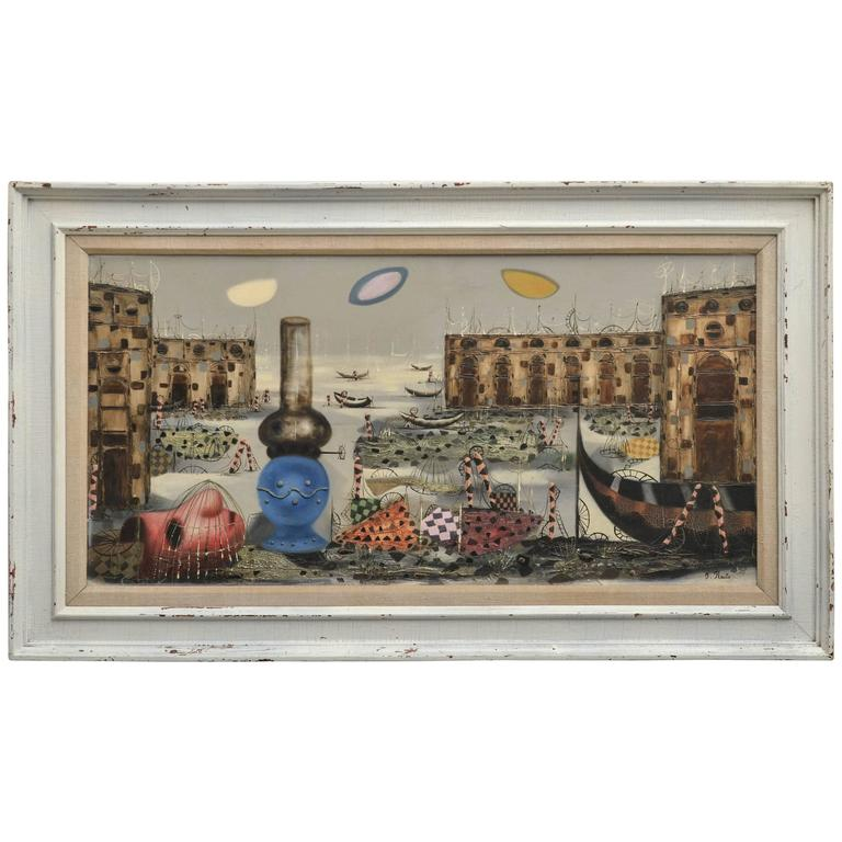 Signed Italian Surrealist Painting by T. Raito For Sale