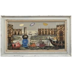 Signed Italian Surrealist Painting by T. Raito