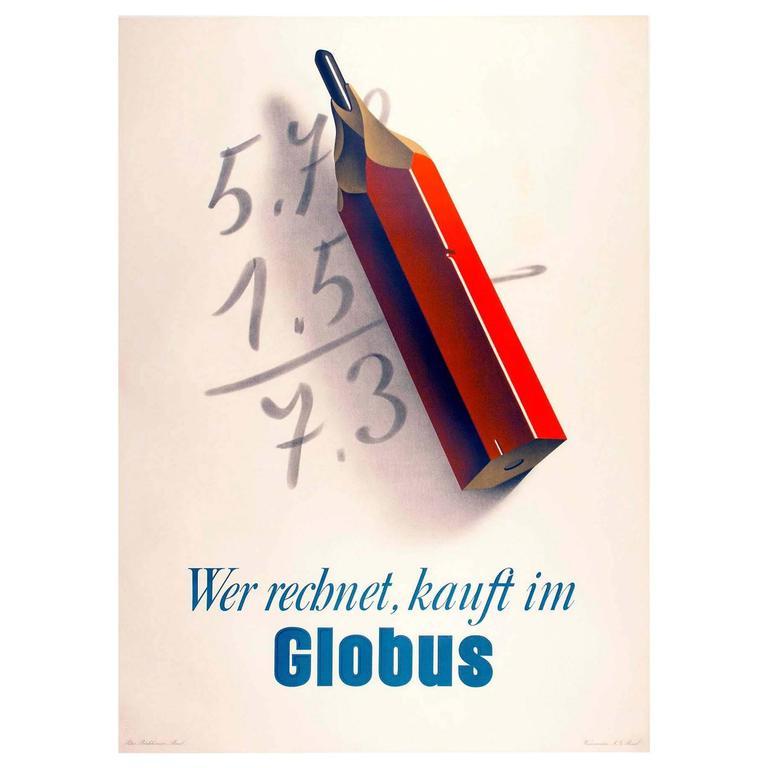 Original Swiss Poster Ad for Globus Department Store