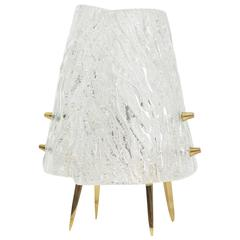 J.T. Kalmar Textured Glass and Brass Table Lamp, 1950s