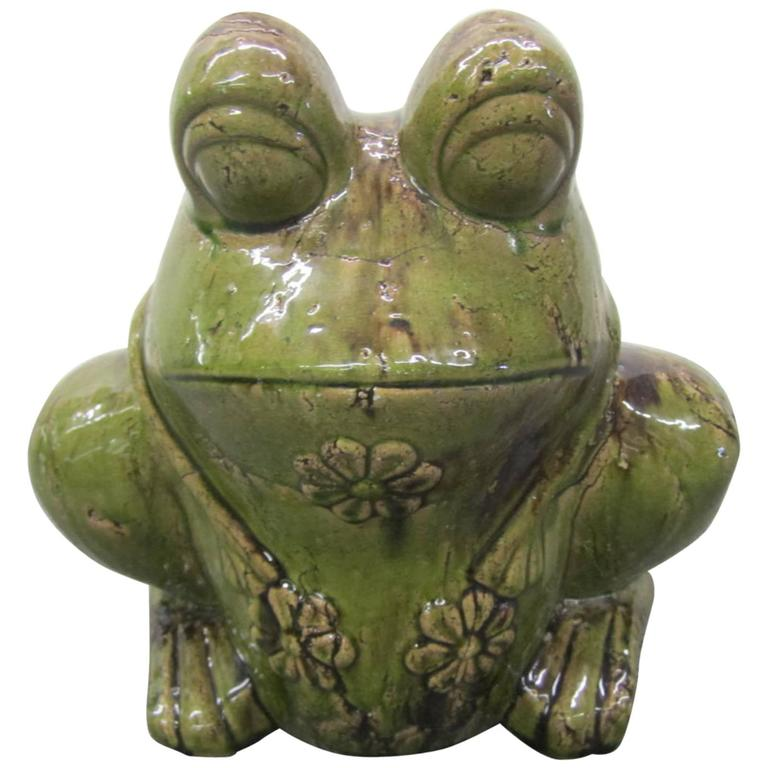 Charming Large Green Glaze Pottery Frog Planter Mid-Century Modern For Sale