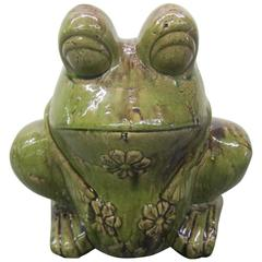 Charming Large Green Glaze Pottery Frog Planter Mid-Century Modern