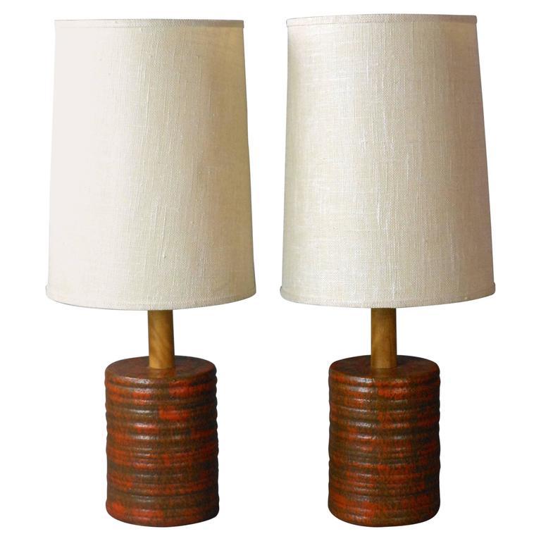 Mid-Century Mottled Orange and Brown Pair of Ceramic Lamps