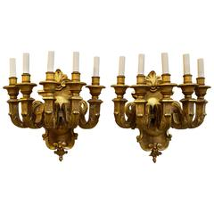 Pair of French Five-Arm Giltwood Sconces